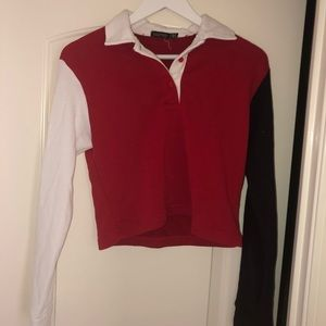 Red, black and white long sleeve